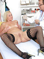 Aged blonde lady Lenny undressing for examination by naughty gyno doctor