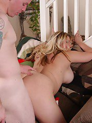 Older blonde fatty Amy taking doggystyle fucking before eating jizz