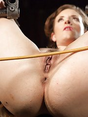 Pierced fetish babe Iona Grace has her big natural tits clothes pegged
