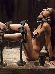 Skinny Latina sex slave Lyla Storm pegged and whipped in chains