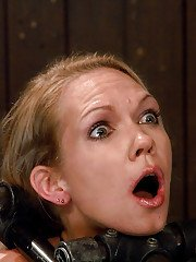Young blonde Rain DeGrey rides Sybian with hook and claw mouth spreader