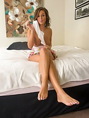 Teen cutie Val Dodds showing off white upskirt underwear and barefeet