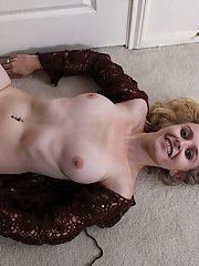 Older blonde broad Annabelle revealing exposed clitoris up close