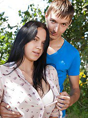 18 yer old brunette girlfriend Viki A giving a blowjob in the forest