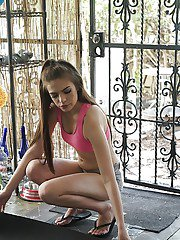 Young brunette babe Zoe Wood spied upon spreading outdoors by voyeur