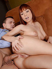 Redheaded Euro chick Tina Hot taking hardcore anal sex from fat cock