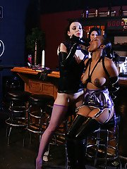 Exotic lesbian fetish action with busty latex and leather adorned dykes