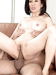 Hardcore ass fucking from large cock for mature brunette Kim Anh