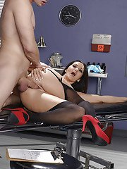 Brunette Euro nurse Ava Addams removes uniform to bare big MILF juggs