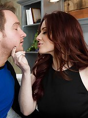 Redhead MILF Jessica Ryan taking cumshot in mouth from big cock