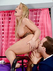 Busty blonde coed Cali Carter has shaved twat penetrated by tongue and cock