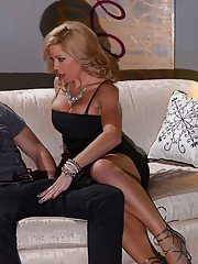 Busty blonde cougar Parker Swayze gives younger mans big cock a blowjob