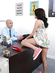 Latina coed Kira Adams seduces older man with blowjob in office
