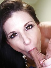 Gonzo style action with brunette mom licking balls and giving handjob