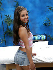 Cute teen babe Lucy poses non nude before baring tiny tits and hard nipples
