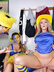 Coed and Harley Jade and girlfriend taking cum on face in dorm party