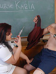 Mature BBW nurse Karla unleashing fat tits before blowing big cock