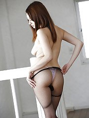 Japanese solo girl Reon Otawa flaunting perfect tits in pantyhose