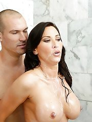 Wet and busty brunette mom Lezley Zen taking rough sex in shower