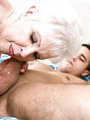 Hose attired granny Jewel giving blowjob before shaved cunt fucking