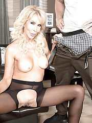 Busty mature blonde Erica Lauren giving a blowjob in pantyhose