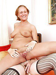 Older stocking attired dykes spreading and fingering hairy pussies