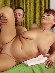 Aged fatty Natalia taking fingering and fucking of shaved pussy