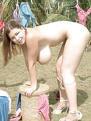 Euro plumper Terry Nova showing off big MILF butt and hooters outdoors