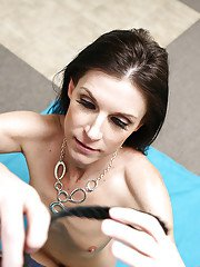 Brunette mom licking ball sac and giving Gonzo styled handjob on knees