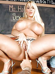 Busty MILF teacher Holly Halston riding cock for hardcore cumshot on desk