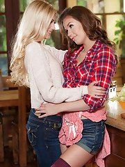 Denim clad real life lesbian lovers Alex Grey and Madi Meadows lick nipples