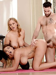 Latina moms Cassidy Banks and Julia Ann expose big tits for threesome