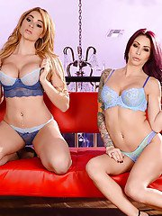 Older and younger lesbo pornstars show off tattoos and butts in high heels