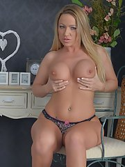 Busty blond MILF Taylor Morgan spreads for fingering of pussy in high heels