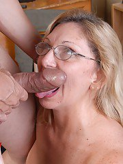 Mature broad in stockings receives hardcore doggystyle fucking after bj