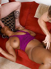 Chubby ebony chick Stacy Adams exposing large black boobs and giving head