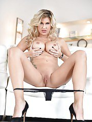 Blonde babe Savana Styles unleashing large MILF tits in high heels