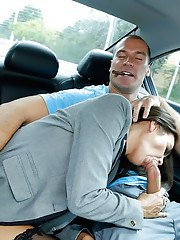 Hot mom Bobbi Rydell giving big cock fully clothed blowjob in back of car