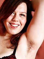 Mature fatty shows off furry underarms and hairy pussy after panty removal