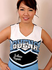 Amateur Asian solo girl sheds cheerleader uniform to bare tiny teen tits