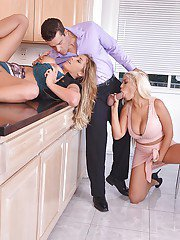 Latina moms Bridgette B and Eva Notty give bj in kitchen threeway