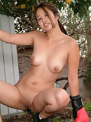 Asian first timer flashes all natural tits and shaved pussy outdoors