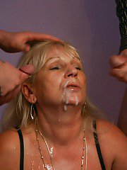 Horny granny Anna A taking anal sex and DP after giving bj in MMF threesome