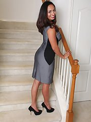 Busty brunette Latina MILF Abby Melon spreading shaved snatch in high heels