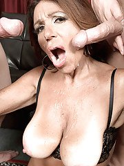 Mature MILF over 50 Layla LaMora taking cum on face in MMF threesome