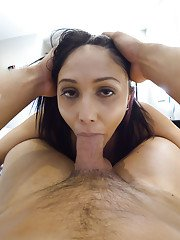 Ball licking brunette Latina Ariana Marie deepthroating cock Gonzo style