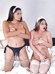 European lesbians toying and fucking assholes and vaginas with strapon cock