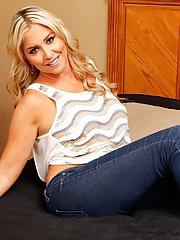 Chubby blonde mom Angela Harley sliding jeans and underwear over naked ass