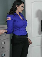 MILFs Alison Tyler and Julia Ann free huge tits from uniforms before ssome