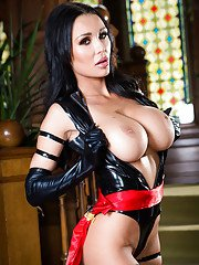 European babe Patty Michova freeing big pornstar tits from latex outfit